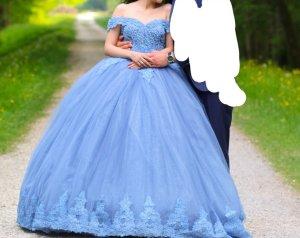 Vestido de novia azul acero