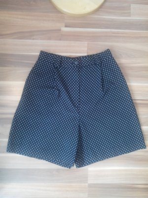 Stoffen broek donkerblauw-wit Gemengd weefsel