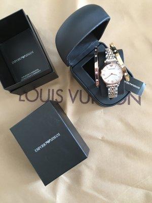 Emporio Armani Reloj con pulsera metálica color rosa dorado-color plata