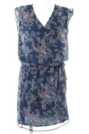 Promod Blusenkleid dunkelblau-rot florales Muster Ethno-Look