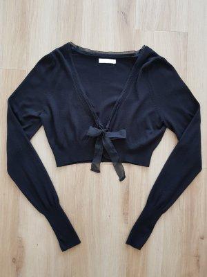 Promod Bolero kurzer Cardigan Strickjacke mit Schleife schwarz Gr. S *** NEU ***