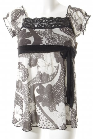 Promod Carmen-Bluse schwarz-weiß florales Muster Casual-Look