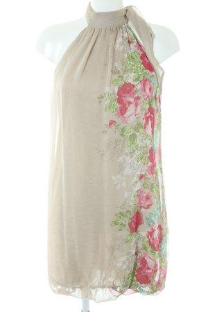 Promod Chiffonkleid graubraun-rosa Blumenmuster Romantik-Look