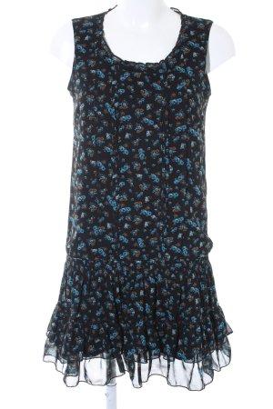 Promod Chiffonkleid schwarz-blau Blumenmuster Casual-Look