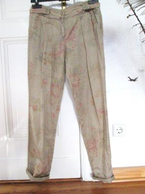 Promod Chino beige mit Blumenprint Baumwollsatin Gr.34