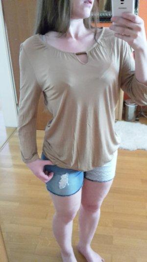 Promod Damen Viskose Shirt mit ¾ Arm in sand Gr. XL