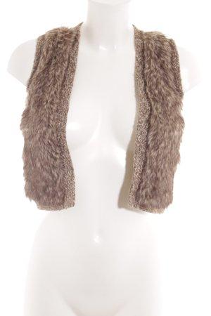 Promod Smanicato di pelliccia bianco sporco-marrone puntinato stile casual