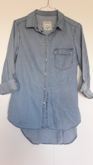 Promod gepunktete Jeansbluse krempelbar hellblau Gr. 34