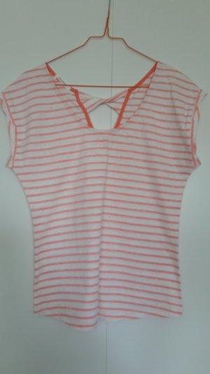 Promod gestreiftes Shirt mit dekorativem Rücken weiß koralle Gr. S