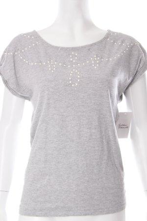 Promod Girlie Shirt hellgrau Perlenverzierung