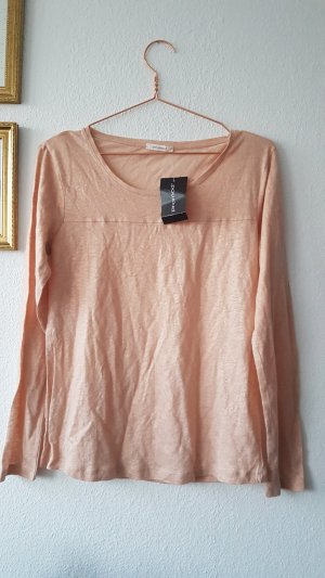 Promod Glitzer Langarm Shirt nude rosa Sweatshirt