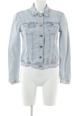 Promod Jeansjacke hellblau-weiß Jeans-Optik