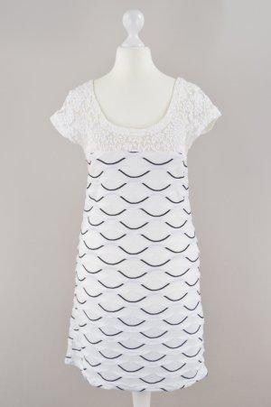 Promod Kleid gestreift mit Spitze weiß Größe XS