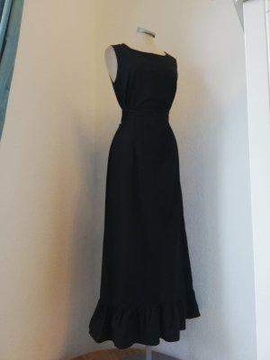 Promod Kleid lang schwarz Etuikleid gerüscht Gr. 36 S gothic geschnürt Schnürung Midikleid