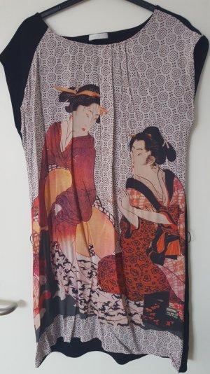 Promod Kleid mit chinesischem Druck beaurdeaux/schwarz