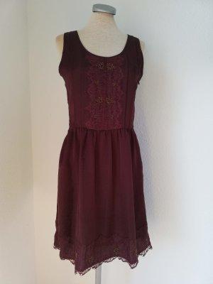 Promod Kleid Spitze + Pailletten neu Gr. 34 XS knielang bordeaux rot