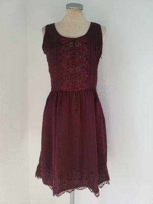 Promod Kleid Spitze + Pailletten neu Gr. 38 S M knielang bordeaux rot