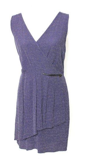 * Promod Kleid Viskose Blau Weiß Punkte Pünktchen Pencil Form 36 38 m *