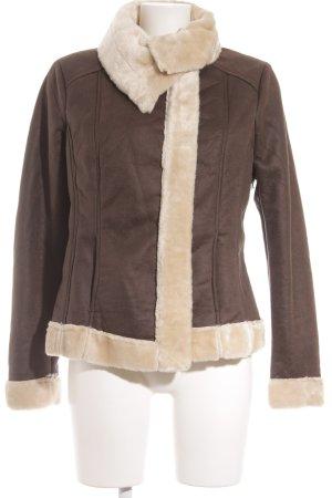 Promod Fake Fur Jacket grey brown college style