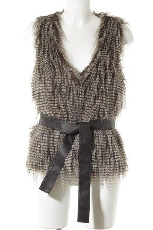 Promod Kunstfellweste grau-schwarz extravaganter Stil