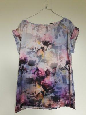 Promod kurzärmeliges Blusenshirt Satin-Optik Batik-Muster rosa lila gelb blau grau Gr. 38