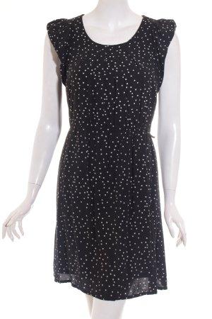 Promod Kurzarmkleid schwarz-weiß Punktemuster Casual-Look