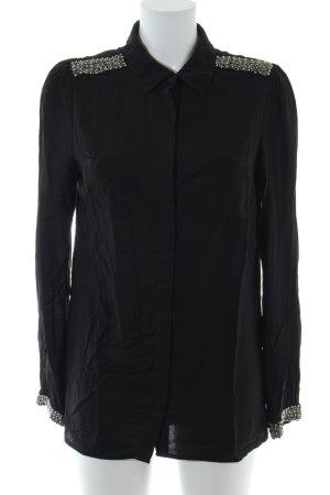 Promod Langarm-Bluse schwarz Business-Look