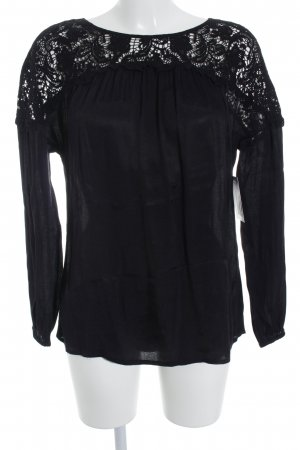 Promod Langarm-Bluse schwarz Elegant