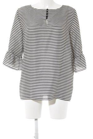 Promod Langarm-Bluse schwarz-weiß Streifenmuster Casual-Look