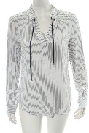 Promod Langarm-Bluse wollweiß-dunkelblau Streifenmuster schlichter Stil
