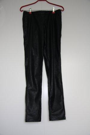 Promod Lederimitat Hose Lederhose Skinny schwarz Gr. 34