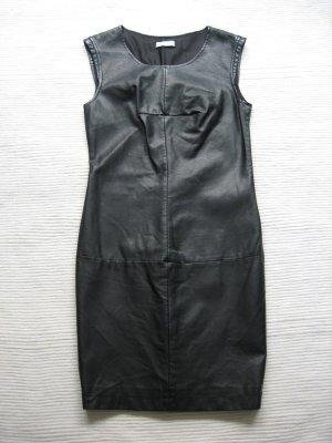 promod lederkleid kunstleder schwarz topzustand gr 34 xs/s etuikleid