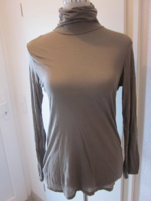 Promod Turtleneck Shirt green grey modal fibre