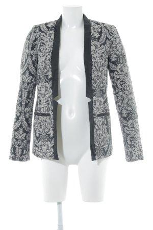 Promod Long-Blazer schwarz-weiß Paisleymuster Casual-Look