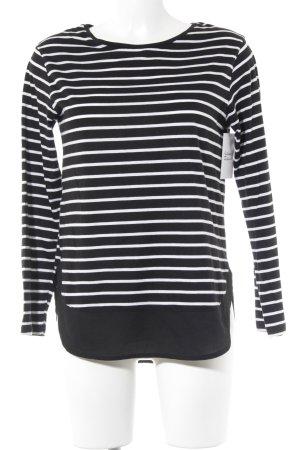 Promod Longshirt schwarz-weiß Streifenmuster Casual-Look