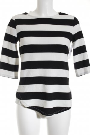 Promod Longsleeve schwarz-weiß Streifenmuster Casual-Look