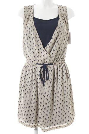 Promod Minikleid beige-dunkelblau Animalmuster Animal-Look