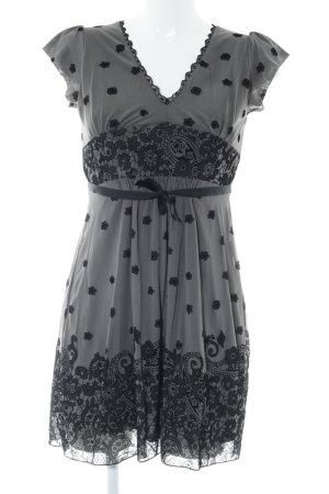 Promod Minikleid grau-schwarz Blumenmuster Casual-Look