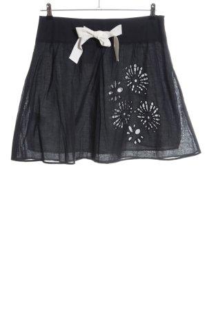 Promod Minirock schwarz-wollweiß Blumenmuster Casual-Look