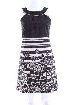 Promod Neckholderkleid schwarz-weiß Blumenmuster Casual-Look