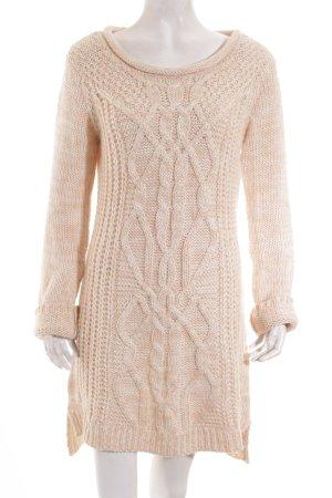 Promod Pulloverkleid wollweiß-rosé Zopfmuster Kuschel-Optik
