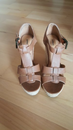 Promod Wedge Sandals camel-light brown