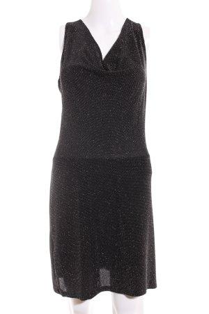 Promod Vestido de tubo negro-color plata elegante