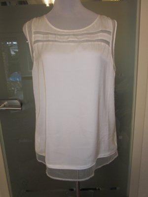 Promod Shirt Bluse Gr M Weiss Transparente Einsätze