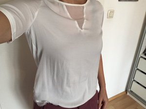 Promod Shirt in Weiß, glänzend seidiger Stoff