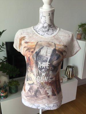 Promod Shirt weiß meliert mit Print Gr S