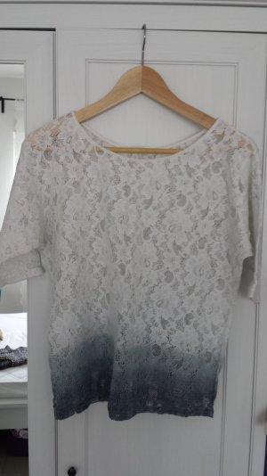 PROMOD | Spitzen-Oberteil in Weiß-Blau-Ombre-Muster