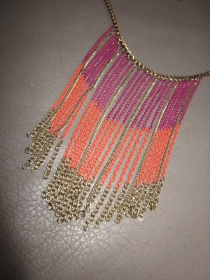 Promod Statement Kette Orange Lila Neu