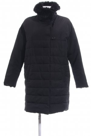 Promod Quilted Coat black quilting pattern casual look