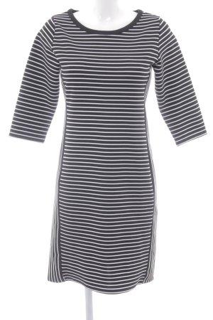 Promod Stretchkleid schwarz-weiß Streifenmuster Elegant